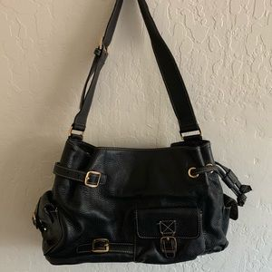 Max New York Black Leather Shoulder Bag